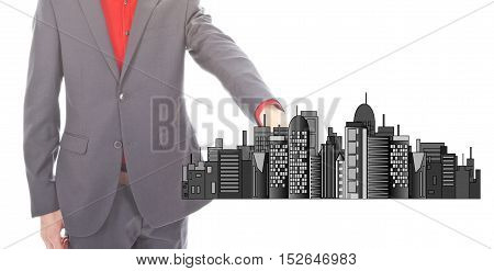 Young businessman with city skyline isolated on white background