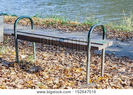 Bench in the city park in sunny autumn day