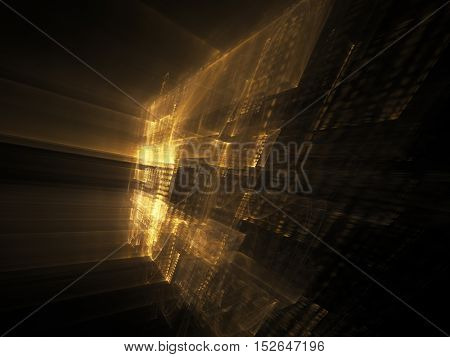 Abstract background element. Three-dimensional composition of wave shapes, grids and beams. Science and technology concept. Yellow and black colors.