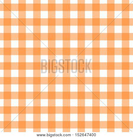 Seamless orange gingham pattern. Traditional background for tablecloths, banqueting rolls, placemats, napkins, drawer & shelf liners. Textile print for shirts, pajamas, bedding sets.