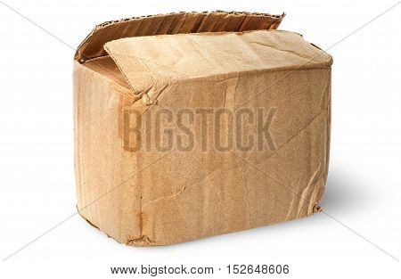 On top worn old cardboard box isolated on white background