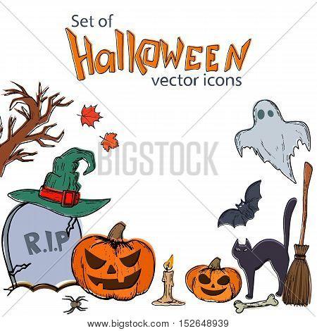 Set of Halloween icons. Vector stock illustration.