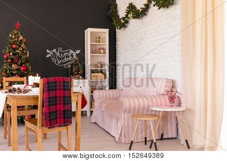 Christmas Decorations In Modern Flat