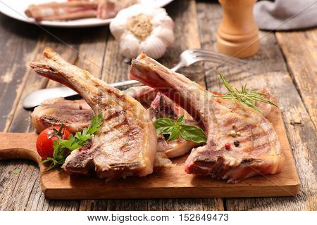 grilled lamb on board