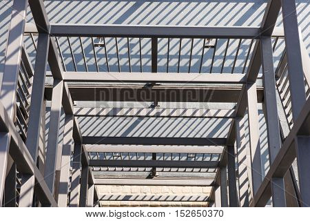 Steel staircase with multiple levels from above