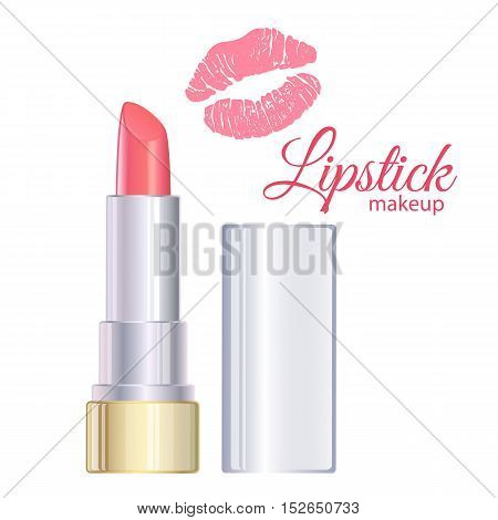 Open pink lipstick, lipstick kiss. Vector stock illustration