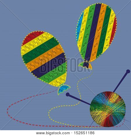Two balloon and a ball of yarn with spokes Abstract author Knitting wool handmade bright picture two object in the strip with the pattern and overlock background eps10 vector illustration design Stock
