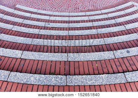 Red brick staircases as background - construction detail
