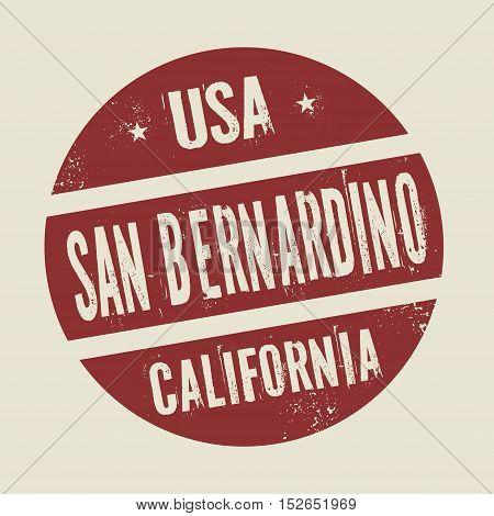 Grunge vintage round stamp with text San Bernardino California vector illustration