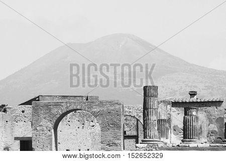 The ruins of Pompeii near the volcano Vesuvius, Italy. Black and white photo.