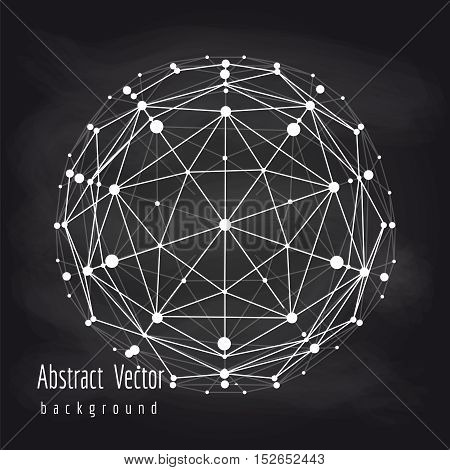 Abstract connect globe or wire sphere on chalkboard vector illustration