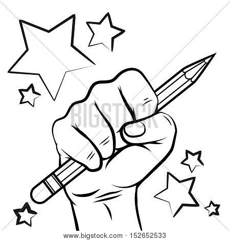 School sketch with hand pencil and stars isolated on white background. Vector illustration