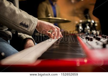 Hands Of Musician Playing Keyboard, Musical Instrument, Synthesizer, Concert