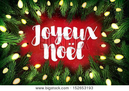 Joyeux Noel (french For Merry Christmas) Christmas Greeting Card With Pine Wreath And Holiday Greeti