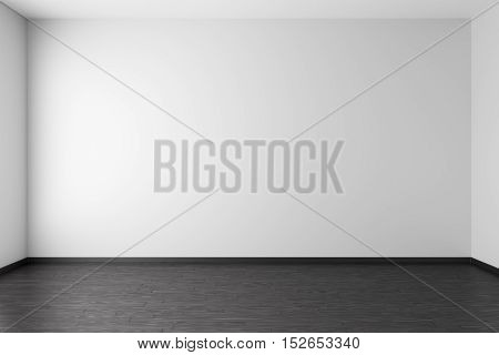 Empty room with white walls black hardwood parquet floor and soft skylight from window simple minimalist interior architecture background with copy-space 3d illustration