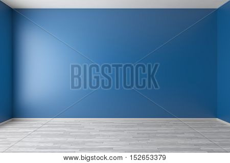Empty room with blue walls white hardwood parquet floor and soft skylight from window simple minimalist interior architecture background with copy-space 3d illustration