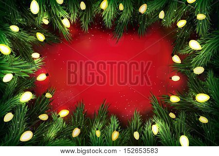 Christmas Pine Wreath With Lights On Festive Red Background