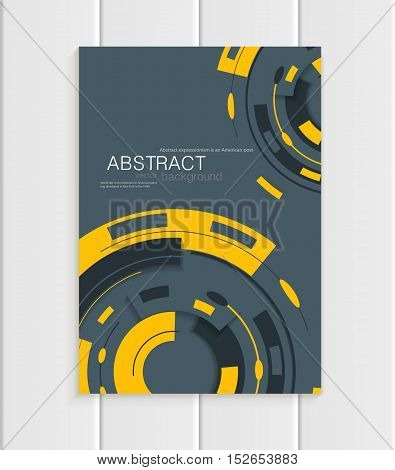 Stock vector brochure in abstract style. Design business templates with yellow rounds, rectangular shapes on dark gray background for printed materials, elements, web sites, cards, covers, wallpaper