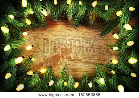 Christmas Pine Wreath  With Lights On Wooden Background. Copyspace For  Your Text