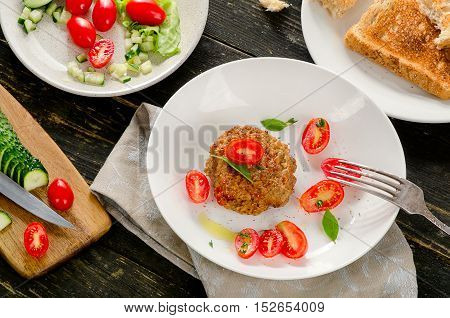 Meatball With Fresh Tomatoes, Cucumbers And Herbs.