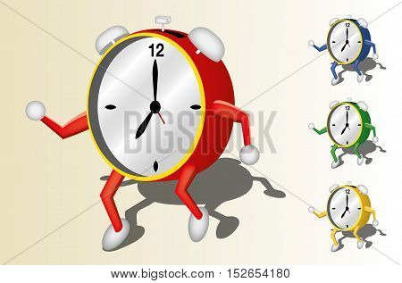 Illustration of a dancing clock with 3 colors variation