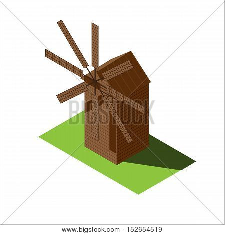 Windmill vector isometric illustration of isolated on a white background
