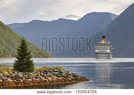 Norwegian fjord landscape. Storfjorden. Hellesylt Geiranger cruise travel. Tourism
