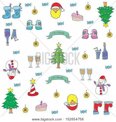 Doodle of christmas items set color vector art illustration