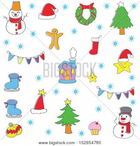Doodle of color christmas items set vector illustartion