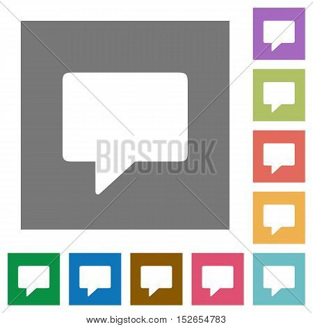 Flat chat message icons on simple color square background.