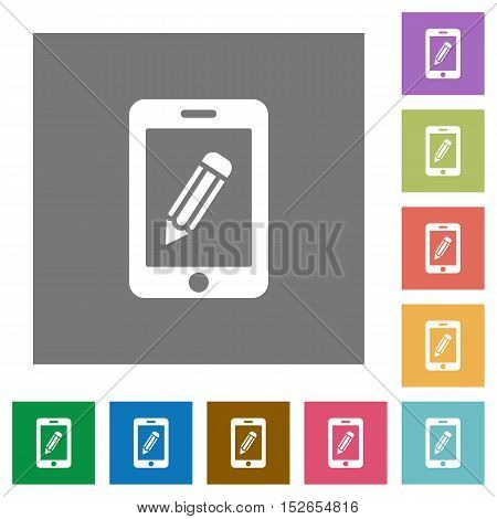 Flat smartphone memo icons on simple color square background.