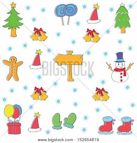 Doodle of christmas element collection vector illustration