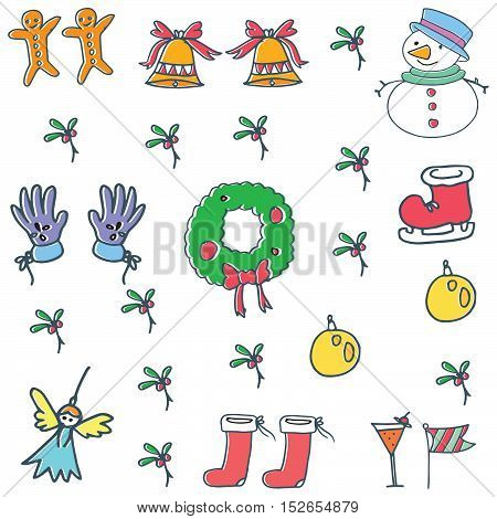 Objects color for christmas vector doodle collection stock