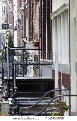 Classical lanterns in the Herengracht street in Amsterdam