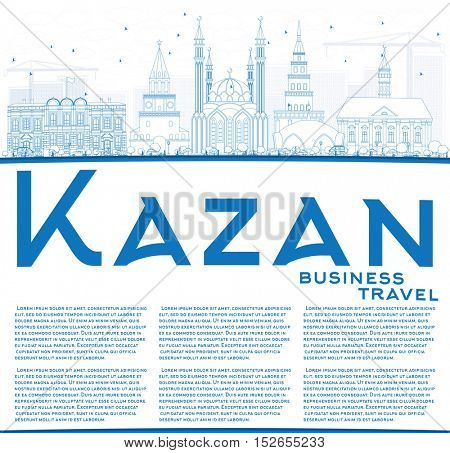 Outline Kazan Skyline with Blue Buildings and Copy Space. Business Travel and Tourism Concept with Historic Architecture. Image for Presentation Banner Placard and Web Site.