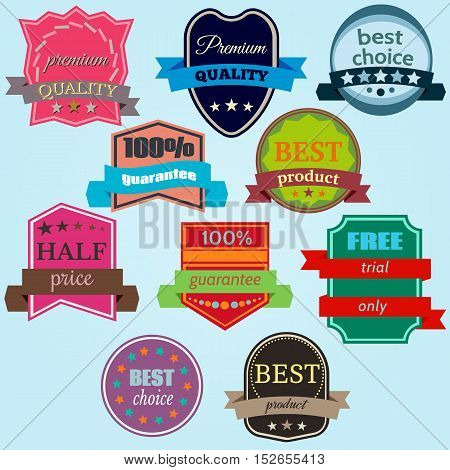 Set of Vector Badges with Ribbons. Web stickers and labels. Isolated vector illustration.