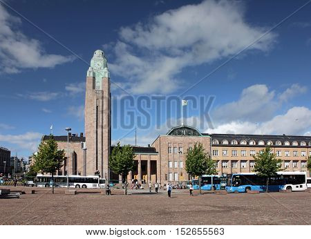HELSINKI FINLAND - AUGUST 9 2016: Beautiful view of Rautatientori (Railway Square) with famous Helsinki Central Railway Station August 9 2016.