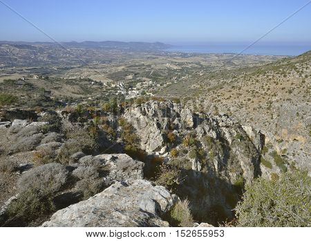 View from Peristerona Gorge with Steni Village & Akamas in the background Cyprus Also known as Gorge of the Eagles and Atichoulli Gorge