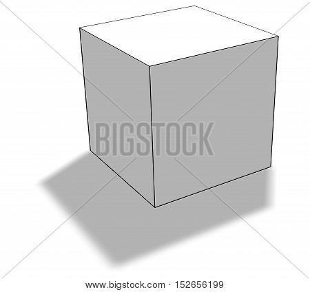 Blank white box on white background with shadow. 3D rendering