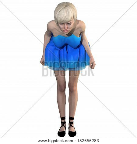 One well-groomed young woman in a blue dress. She stands close in front of the camera and making a bow. 3D rendering, 3D illustration