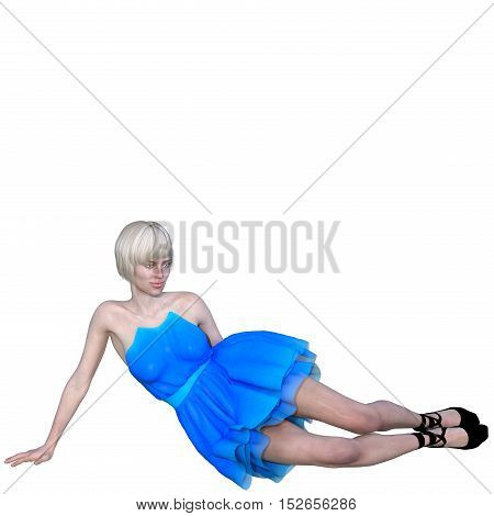 One well-groomed young woman in a blue dress. It lies in front of the camera and the right hand placed on the floor. 3D rendering, 3D illustration