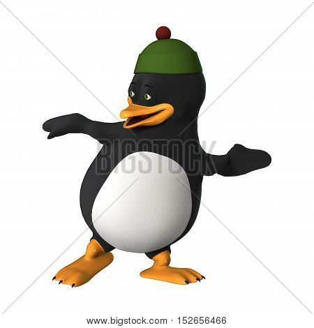 3D Rendering Cartoon Penguin On White