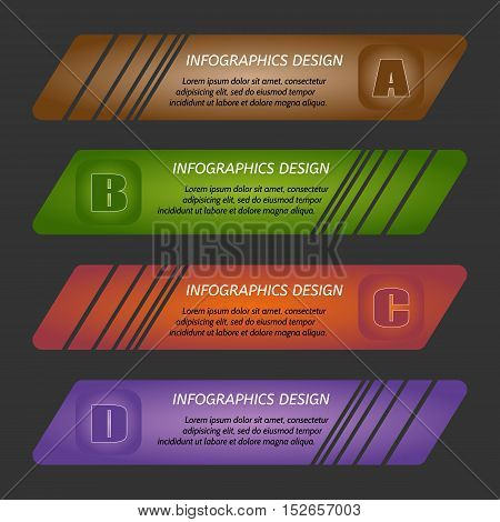 Vector illustration infographic template with step. Colorful bookmarks arrows banners for text.