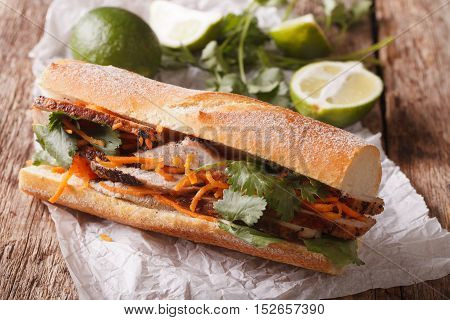 Vietnamese Pork Banh Mi Sandwich With Cilantro And Carrot Close-up. Horizontal