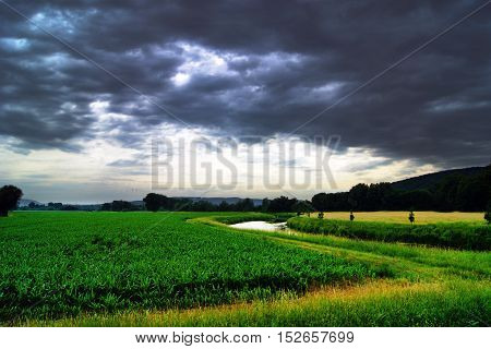 The fields in the valley of the river Leine, Lower Saxony, Germany
