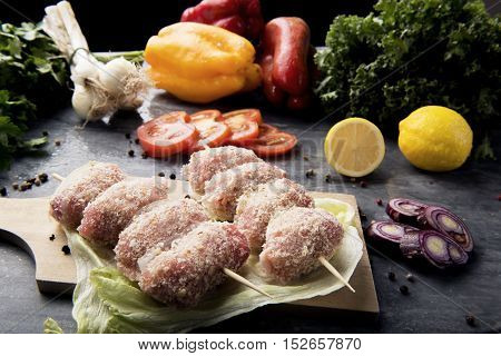 Composition Of Vegetables And Meat Rolls