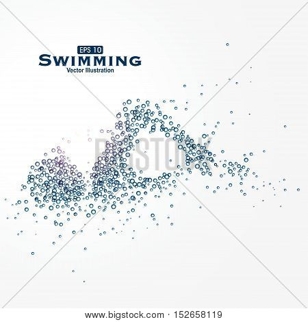 Swimmer, Particles composed of sports image, vector illustration.
