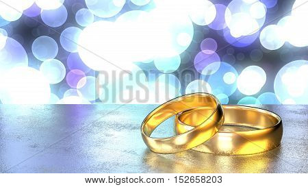 Two golden wedding rings on a grey stone table in front of a shiny bokeh background in different blue colors 3D illustration