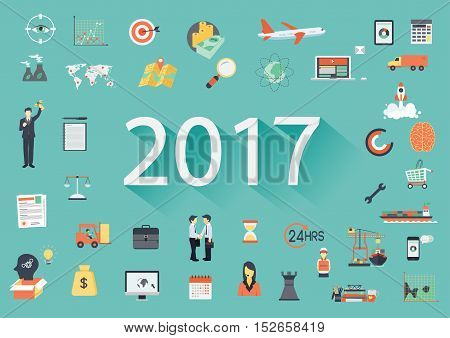 Happy New Year 2017 paper text with long shadow and business flat icons. Banner tamplate