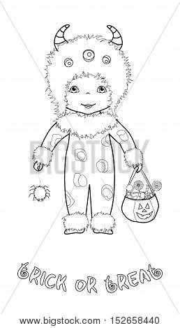 Trick or treat halloween cartoon coloring page with cute kid in monster costume with spider and pumpkin bag full of sweets